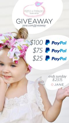 Cutest little girl clothes ever, plus some equally amazing things for mom (or auntie, sister or distant cousin) equals this week's picture perfect giveaway featuring Pearls and Piggy Tails. You're probably going to want to enter now… just sayin'... ** Prizes: --  2x $100 PayPal Cash --  3x $75 PayPal Cash --  3x $25 PayPal Cash ** Click The Image to Enter **