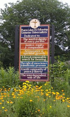 Awesome sign featuring the 7 Principles Prairie Lakes Unitarian Universalist  Church in Ripon, WI
