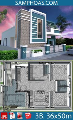 One Story House with 3 Bedroom Plot - SamPhoas Plansearch House Front Wall Design, House Arch Design, Single Floor House Design, Simple House Design, Bungalow House Design, 2bhk House Plan, Story House, Modern House Facades, Modern House Plans