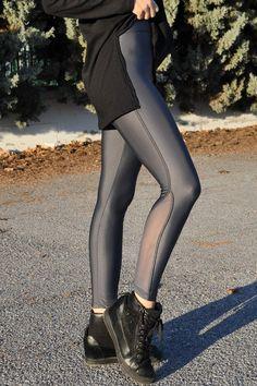 Κολάν γυαλιστερό ψηλόμεσο με διαφάνεια γκρι Stockings, Pants, Fashion, Socks, Trouser Pants, Moda, La Mode, Women's Pants, Pantyhose Legs