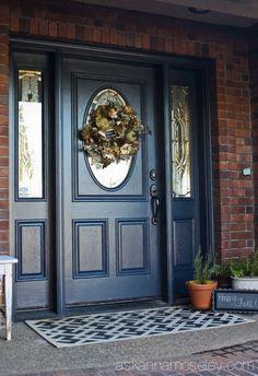Blue front door - ask anna front door paint colors, painted front doors, . Black Front Doors, Wooden Front Doors, Front Door Entrance, House Front Door, Painted Front Doors, Glass Front Door, Glass Doors, Red Doors, Door Entryway