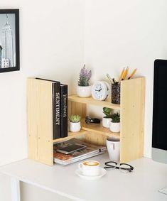 37 Practical Products That Also Really Freakin' Gorgeous Desktop Bookshelf, Desktop Storage, Dorm Desk Organization, Ikea Dorm, Dorm Room Desk, Natural Shelves, Adjustable Desktop, Dorm Furniture, Furniture Design