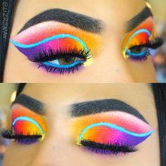 Colorful rainbow cut crease makeup - June 15 2019 at Cut Crease Hooded Eyes, Eye Makeup Cut Crease, Glitter Eye Makeup, Smokey Eye Makeup, Smoky Eye, Eyeshadow Base, Shimmer Eyeshadow, Makeup Eyeshadow, Eyeshadow Palette