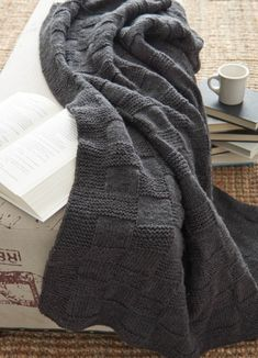 Cuddle up with a warm Basket weave Afghan blanket this fall. - makes a great, knitted Christmas gift, too! Free knitting pattern here @joannstores