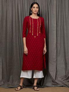 Red Hand Block Printed Cotton Kurta with White Cotton Culottes - Set of 2 Silk Kurti Designs, Salwar Designs, Kurta Designs Women, Kurti Designs Party Wear, Stylish Dress Designs, Dress Neck Designs, Stylish Dresses, Kurti Embroidery Design, Embroidery Suits