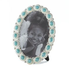 SEA COLORED CABOCHON PHOTO FRAME 5X7 PICTURE TABLETOP DISPLAY~10016936