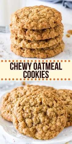 These chewy oatmeal cookies are soft, packed with texture, and have a delicious caramel flavor with a hint of cinnamon. The cookie dough comes together in under 15 minutes, and you don't have to chill the dough. recipe from Just So Tasty Healthy Oatmeal Cookies, Oatmeal Cookie Recipes, Oatmeal Chocolate Chip Cookies, Easy Cookie Recipes, Baking Recipes, Dessert Recipes, Oatmeal Cake, Simple Oatmeal Cookie Recipe, Vegetarian Recipes