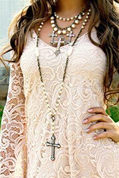 Pearl Beaded Cross Necklace - $44.99 - #pink #panache #swarovski #crystal…