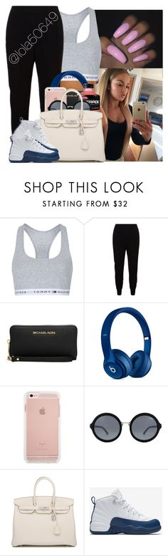 """2 ina morning my mind is on you,4 ina mornin it still hasn't moved"" by lola50649 ❤ liked on Polyvore featuring Topshop, STELLA McCARTNEY, Michael Kors, Quay, Hermès, NIKE and tommy"