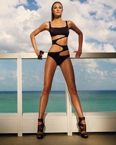 Zeki swimwear black bikini Candice Swanepoel swimsuit plus 1/1