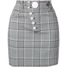 Alexander Wang check button skirt (€695) via Polyvore featuring skirts, mini skirts, black, checkered mini skirt, checked skirt, short mini skirts, short skirts und alexander wang skirt