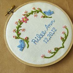 Custom newborn baby embroidery hoop wall art blue birds por oktak