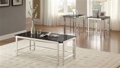Watt Contemporary Metal Faux Marble Top 3-Piece Occasional Tables