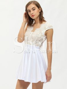 93e4d53c1819 Shop White Cap Sleeve With Lace Dress online. SheIn offers White Cap Sleeve  With Lace