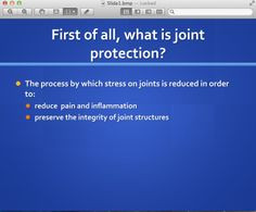 Sample slide from station 1 of the Second Life display on #rheumatoid arthritis and Joint Protection. More info here: http://www.screencast.com/t/w5BSzNw0