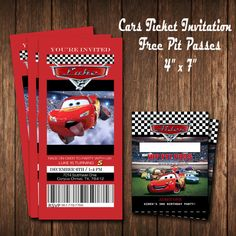 Lightning McQueen birthday invitation; two styles to choose from. Made to order. Fast turn around time. Dimensions: 4 x 7 Invitation Dimensions: 4 x 5 Pit Passes Customize options available including SPANISH Proofs will be emailed to you based on your info provided or any additional