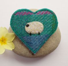 Harris Tweed Sheep Heart Brooch Pin