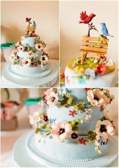love birds floral wedding cake