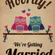 Owl Themed Vintage Retro Style Wedding Invitation