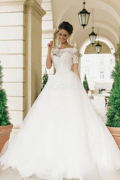 Robe de mariée trapèze princesse ras du sol bardot