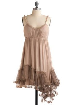 I Really Mist You Dress in Taupe. Having spent many of your childhood summers with your quirky cousin upstate, it's of no surprise you grew as close as siblings. #tan #modcloth  large   40 glitters shipped