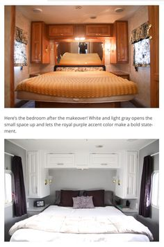 5th wheel bedroom remodel before and after  http://mobilehomeliving.org/fabulous-5th-wheel-camper-makeover/