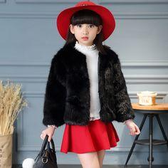 32.71$ (Buy here - https://alitems.com/g/1e8d114494b01f4c715516525dc3e8/?i=5&ulp=https%3A%2F%2Fwww.aliexpress.com%2Fitem%2Fteenage-little-girls-winter-jackets-clothes-new-2017-faux-fur-coats-kids-black-grey-long-sleeve%2F32781278305.html) teenage little girls winter jackets clothes new 2017 faux fur coats kids black grey long sleeve children outerwear jackets coats