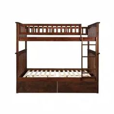 Harper & Bright Designs Espresso Twin Bunk Bed Over with Trundle Bed and End Ladder-SK000067AAP - The Home Depot Wood Bunk Beds, Bunk Bed With Trundle, Twin Bunk Beds, Staircase Bunk Bed, Adult Bunk Beds, Atlantic Furniture, Bed With Drawers, Under Bed Storage, Full Bed