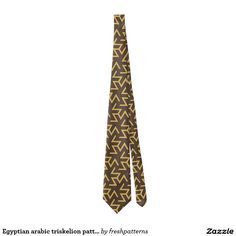 Egyptian arabic triskelion pattern in brown beige tie