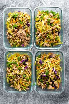 low carb egg roll in a bowl portioned out into meal prep containers This egg roll in a bowl is the perfect low carb lunch for you! With only 7 g net carbs, this recipe has broccoli cole slaw, ground pork, and a delicious Asian sauce. Low Carb Lunch, Lunch Meal Prep, Meal Prep Bowls, Healthy Meal Prep, Simple Meal Prep, Dinner Meal, Keto Meal, Lunch Recipes, Low Carb Recipes