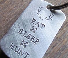 STOCKING STUFFER Mens Key Chain Eat Sleep Hunt by AlwaysAMemory