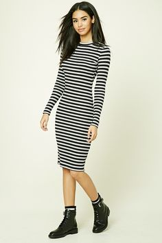 A ribbed knit midi dress featuring a bodycon silhouette, striped pattern, crew neckline, and long sleeves.