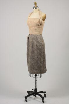 vintage 1950s tweed dress with chiffon halter
