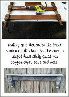 before and after bunk bed legs repurposed hook shelf coffee cup rack MyRepurposedLife.com