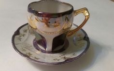 Vintage Lusterware Demitasse Espresso Cup and Saucer Lavender with Gold Trim | Antiques, Decorative Arts, Ceramics & Porcelain | eBay!