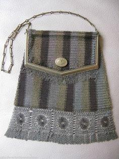 Loyal Antique Art Nouveau Deco G Silver Pierced Floral Pinstripe Frame Mesh Purse Bags, Handbags & Cases