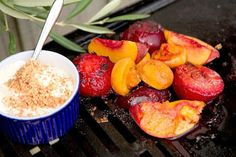 Caramelised stone fruit with brandy almond cream recipe, Viva – Brandyflavoured cream and fresh fruit in a sweet glaze what could be better as an after dinner treat - Eat Well (formerly Bite) Mixed Fruit, Fresh Fruit, Almond Cream Recipe, Impressive Desserts, Ground Almonds, Stone Fruit, Fruit In Season, Cream Recipes, Christmas Desserts