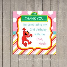 Elmo Favor Tag / Girl Elmo Favor Tag / Girl Elmo Party / Elmo Birthday / PDF Printable DIY Girlie