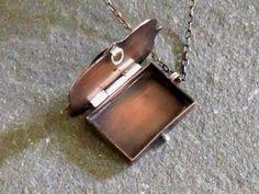 Locket Necklace Handmade Rustic Copper by ElizabethsArtJewelry
