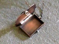 Locket Necklace Handmade Rustic Copper by ElizabethsArtJewelry