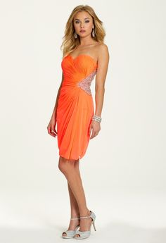 Short Strapless Mesh Shirred Dress with Beading from Camille La Vie and Group USA