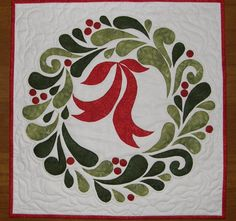 Christmas Wreath Art Quilt Quilted Wall Hanging Red by HollysHutch