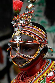 Africa | Young Samburu woman.  Wamba, Kenya