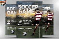 Soccer Game Flyer Template by FlyerHeroes on @creativemarket