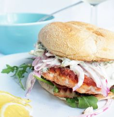 Salmon Burger with Dill/Caper Tartar Sauce and Red Onion Ceviche