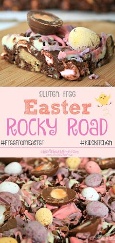 The best Easter Rocky Road recipe ever! Gluten free and tastes f… The best Easter Rocky Road recipe Weight Watcher Desserts, Gluten Free Desserts, Dessert Recipes, Easter Recipes Gluten Free, Easter Recipes Vegetarian, Dinner Recipes, Gluten Free Baking Recipes, Celiac Recipes, Party Recipes