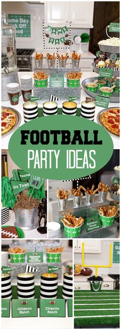 Check out this football party with free printables! See more party ideas at CatchMyParty.com! Football Centerpieces, Football Party Decorations, Football Decor, Football Food, Football Banquet, Football Tailgate, Football Birthday, Tailgating, 9th Birthday