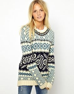 Bellfield Jacquard Sweater With Neck Detail. Too bad only UK sizes to size 10 as a Large?
