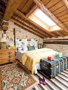 Colorful Rustic Cottage With Character 15 Attic Bedrooms, Bedroom Loft, Home Bedroom, Bedroom Decor, Attic Loft, Bedroom Ideas, Bedroom Rustic, Rustic Room, Bedroom Designs