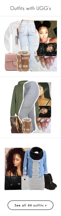 """Outfits with UGG's"" by barbiedatrillest ❤ liked on Polyvore featuring Chanel, UGG Australia, Topshop, Louis Vuitton, MICHAEL Michael Kors, H&M, Helmut Lang, Pilot, Michael Kors and Calvin Klein"
